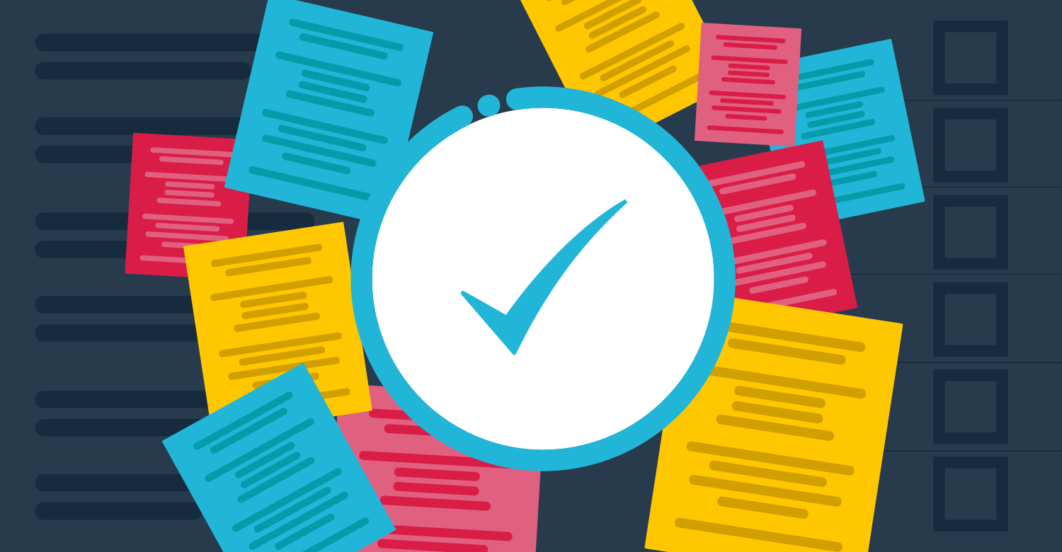 Daily checklist tool illustration - check mark, papers, task lists