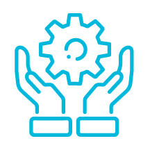 Two hands holding a gear icon