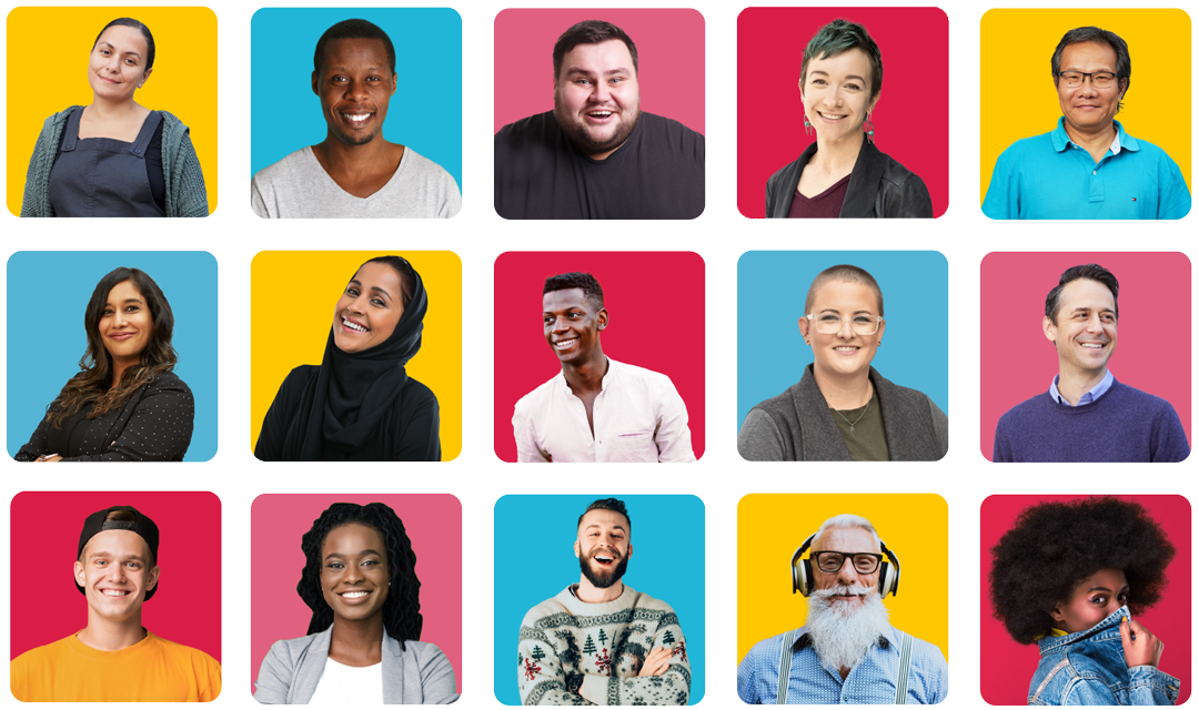 Colorful Grid composit/collage of 16 diverse people.