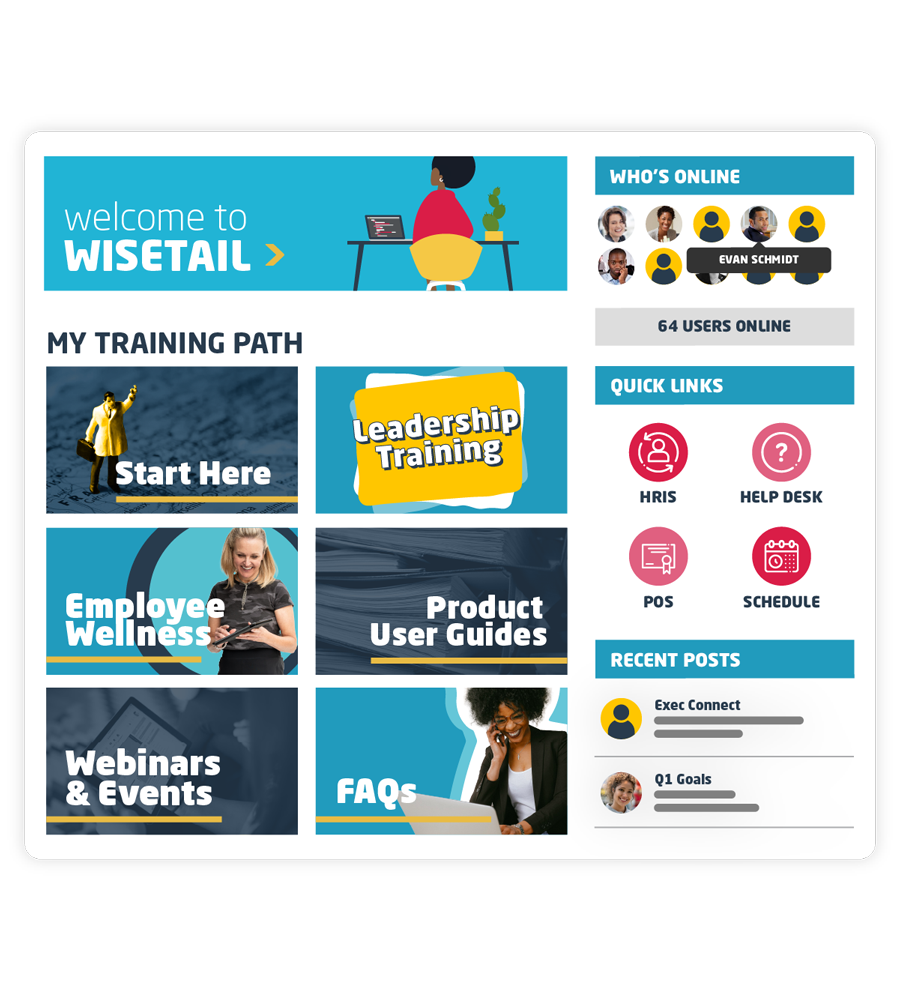 Graphic image of Wisetail LMS and LXP homepage