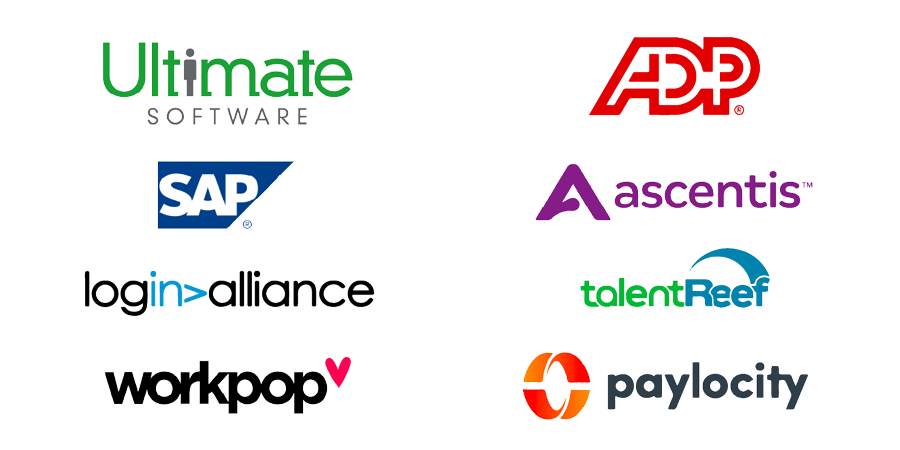 Software integration logos - Ultimate software, ADP, SAP, ascentis, login>alliance, talentReef, workpop, paylocity
